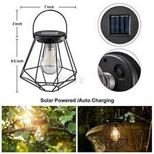 Solar Lantern Hanging Light Retro LED Yard Outdoor Patio Garden Lamp Decor