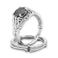925 Silver Black Topaz Skull Punk Wedding Engagement Women Men Ring Gift Sz5-10