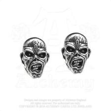 ALCHEMY ROCKS - IRON MAIDEN - PIECE OF MIND EDDIE PEWTER STUD EARRINGS METAL