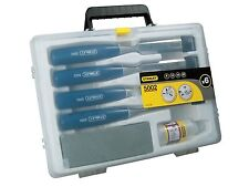 STANLEY 4 Piece Bevel Edge Wood Chisel Set,Sharpening Stone & Oil In Case,016130