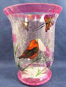 Bird orange Sm Pillar Candle Holder Hand Painted Crackle Glass Home Decor C 6'