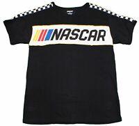 NASCAR RACING CHECKER LOGO T-SHIRT MENS BLACK RACE CAR SPORTS CHECKERED TEE NEW