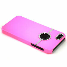 New Deluxe Light Pink Hard Case With Chrome Ring For Apple iPhone 5 / 5S / SE