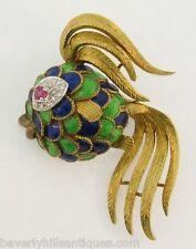 Beautiful Vintage Enamel 18k Gold Ruby Diamonds Fish Brooch/ Pendant 22.4 Grams