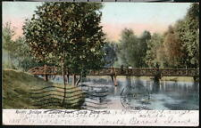 SOUTH BEND IN Leeper Park Rustic Bridge Antique Indiana Postcard Early Old Vtg
