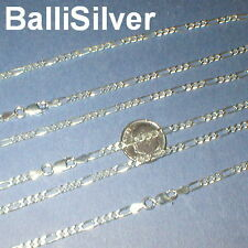 3 Sterling Silver 3mm FIGARO CHAIN NECKLACES Lot 20""