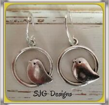 Vintage Singing Bird Pendant On 925 Sterling Silver Hoop- Earrings
