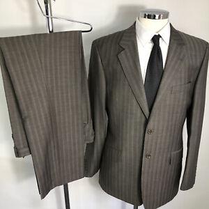 Men's Fellini Tailoring Grey Striped Wool Blend Suit-Chest 40 Waist 34- Leg 32