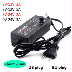 Adjustable AC/DC Power Supply Adapter Display 3V 12V 3-24V 9-24V 2A 5A Universal