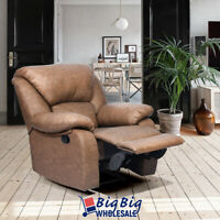 Brown Leather Recliner Sofa Manual Single Couch Reclining Chair Home Furniture