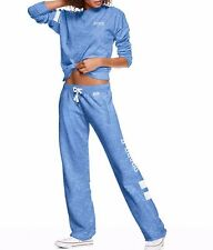 Victoria Secret PINK Legend Blue Marl Tunic Crew Pullover/Boyfriend Pant Set L