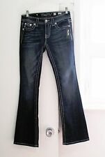 Miss Me Womens Signature Boot Cut Jeans Dark Blue JY8208BV Sz 27- NWT
