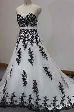 Vintage Black and White Gothic Wedding Dress Bride Appliques Lace Bridal Gowns