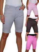 Womens Plus Size Jean Style Shorts Chino Sheen Green 14-24