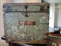 AAFA Early Painted Wood Box Dovetail  Primitive Document Box Copper Name Plate!