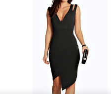 Ladies New Cut Out Asymmetric Bodycon Black Dress Size 8 UK