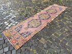 Bohemian runner rug, Turkish vintage rug, Handmade wool rug | 2,4 x 8,9 ft