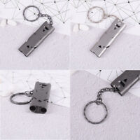 150db double pipe stainless steel outdoor emergency survival whistle keychain JR