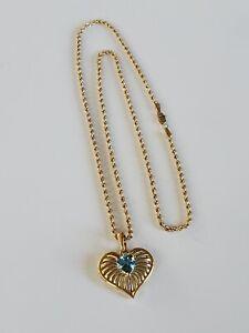 "18"" 14k Gold Rope Necklace London Blue Topaz Diamond Heart Pendant/Enhancer."