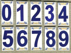 Mediterranean House Address Number Ceramic Tile Handmade Hand Painted