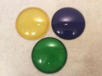 Colored Glass Lens Cover Lot of 3 Lamp Signal Traffic Spot Theater Light Lantern