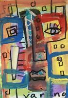 Original abstract expressionism cubist outsider aceo painting Patrice varano