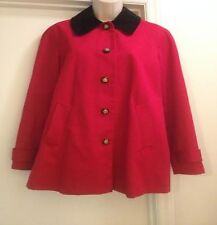 RALPH LAUREN EQUESTRIAN RED BARN SWING COAT JACKET Horse Lining Buttons Sz M