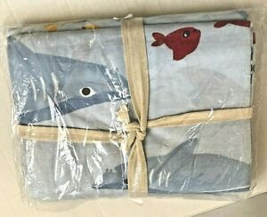 $69 NWT Pottery Barn Kids SHARK BITE Twin Duvet Cover Blue