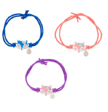 FOX FRIENDSHIP BRACELETS SET OF 3 VULPES VULPES CORAL BLUE PURPLE STRETCH