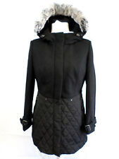 AE ELEGANCE PARIS LADIES BLACK COAT WITH RABBIT FUR SIZE 10 NEW BOX8247 B