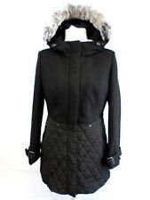 AE ELEGANCE PARIS LADIES BLACK COAT WITH RABBIT FUR SIZE 10 NEW BOX82 47 B