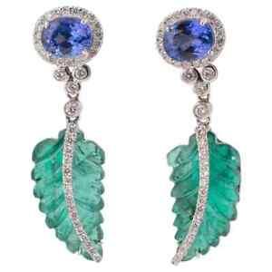 Art Deco 25.80 CT Green Emerald & Blue Sapphire White CZ Awesome Dangle Earrings