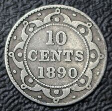 OLD CANADIAN COIN 1890 NEWFOUNDLAND 10 CENTS - .925 SILVER - Victoria - Nice