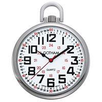 Gotham Men's Silver-Tone Slim Railroad 24 Hour Quartz Pocket Watch # GWC15029S