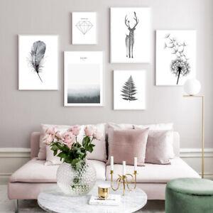 Scandinavian Poster Nordic Forest Dandelion Minimalist Wall Art Canvas Print