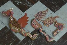 Indonesian / Balinese Handcrafted Wooden Large Red Gold Flying Hanging Dragon