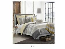 KAS ROOM LOGAN Twin DUVET COVER Striped NEW Gray White Yellow