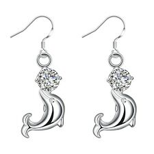 Women's dolphin Hoops Earrings Silver Plated Fashion Jewelry New
