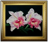 Framed, Three-Tone Orchids, Quality Hand Painted Oil Painting 20x24in