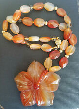 14k Yellow Gold Orange Agate Carnelian Carved Large Flower Necklace Signed LUC