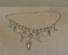 Antique Silver Egyptian Revival Enamel Necklace 1920