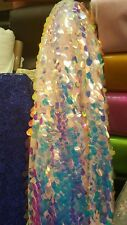 Iridescent paillette sequin on mesh pink hologram fabric by the yard