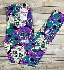 PLUS Size Sugar Skull Leggings Purple Teal Pink Skeleton Printed Curvy 10-18