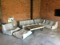 Ligne Roset TOGO Set 1x3,1x2,1 Seat, corner, pouffe, new grey Leather!