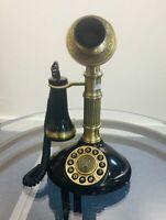 Metal Black/ Gold Retro Candlestick Push Button Dial Single Line Desk Telephone