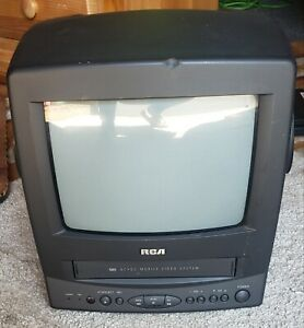 """Vintage RCA T09082 9"""" Color TV & VCR VHS Player Combo Gaming no remote Tested"""