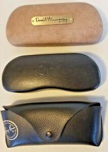 LOT OF THREE 3 Sunglasses Case Cases Clamshell Snap Black RAYBAN HEMINGWAY EUC