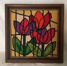 Vintage Framed Needlepoint Finished Padded Tulips Mod Bright Colors 20016