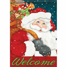 Christmas Santa with Toy Sack Snowflake Welcome Double Sided Garden Flag 13 x 18