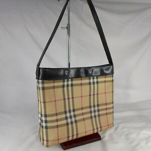Authentic Rare Vintage Burberry Nova Check Medium Hobo Shoulder Handbag Good Con